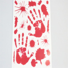 Halloween Window Wall Car Blood Stickers Decoration Scary Bloody Foot&Hand Decal(China)