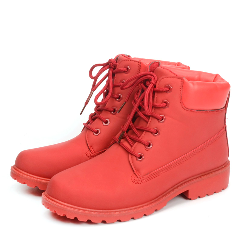 Fujin 2018 Spring Autumn Winter Boots Women Red Fashion Boots Ankle Plush Warm Women Winter Boots Shoes Waterproof Snow Boots