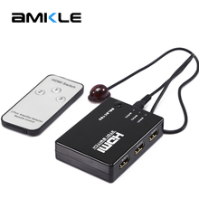 Amkle HDMI Switcher 3 Ports 1080P 3D Mini HDMI Splitter Box Selector with IR Remote Control for for HDTV PC for PS3 PS4 Xbox360(China)