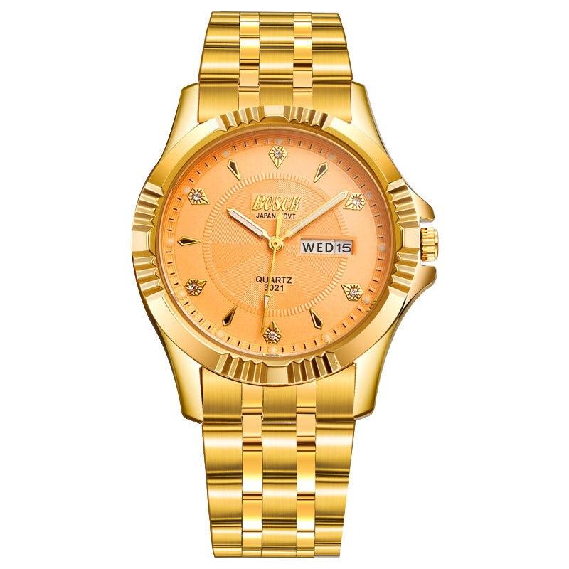 BOSCK Full Gold Watch Mens Watches Top Brand Luxury Waterproof Quartz-watch Steel Wrist watches for Men relojes hombre 2017<br><br>Aliexpress