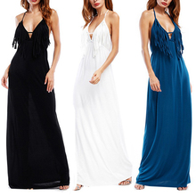 Buy 2018 Spring Deep V Neck Tassel Decorate Long Dress Maxi Dresses Women Solid Sexy Halter Backless Evening Party Clubwear Vestidos