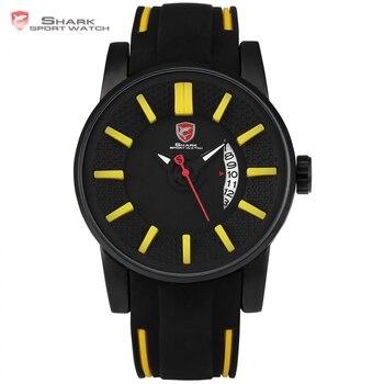 Tiburones grises de arrecife shark sport reloj cara 3d amarillo diseño analógico de silicona fecha lujo reloj hombre relojes de cuarzo relogios masculino/sh479