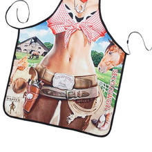 New Novelty Cooking Kitchen Cool Cowgirl Print Sexy Apron Baking Present Pinafore Chef Funny aprons for women(China)