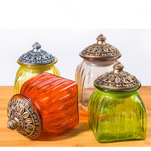 Transparent Candy Cans Food Storage Tank Spray Color Round Glass Storage Tank Sealed Cans Craft Ornaments Botellas Sugar Bowl