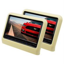 2 Pieces 9 Inch Car Monitor Headrest DVD Player With 800x480 Screen Built-in Speaker Support USB SD Games Remote Control Beige