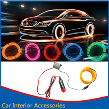 Car Styling 2 Meter Auto Lamps Car Interior Light Car Ambient Light Cold Light Line DIY Decorative Dash board Console Door
