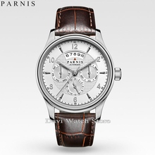 parnis 42mm Sapphire Glass white dial 26 jewels miyota 9100 Automatic mens Watch(China)