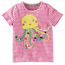 Retail Brand 2017 New Children's T-shirt Kids Baby Girls Clothing Childrens Summer Clothes Cartoon blouse T shirts pink rabbit