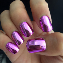 Flat Top Metallic False Nail Tips Acrylic Mirror Shine Surface Hot Pink Purple Middle Design Finger Nails N08