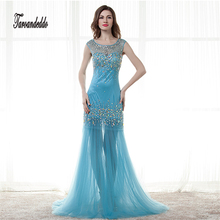Elegant Baby Blue Plus Size Evening Dress 2017 Tulle Appliques Sleeveless A-Line Cheap Long Prom Dresses Illusion Back