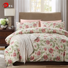 Pink Floral Satin Bed Set Luxury Egyptian Cotton Bedding Set King Queen Size High Quality White Bed Linen Duvet Cover Set Z6(China)