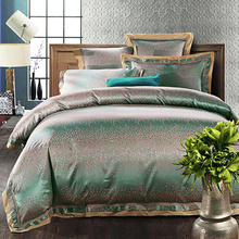 2017 Luxury Green silver white duvet cover set lace border linens silk cotton jacquard Queen/King size 4/6pcs bedding sets(China)