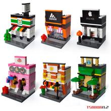 Mini city street view building block with light 7-11 Apple store Starbucks coffee Dessert shop Restaurant bricks toys for kids