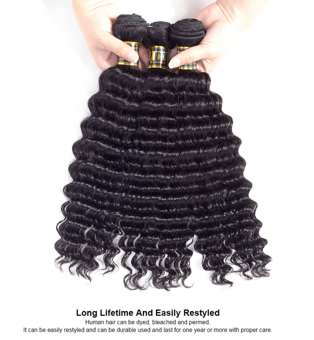 QThair Deep Wave Brazilian Hair Weave Bundles Non remy Hair Bundles 8″-28″ Human Hair Weaving