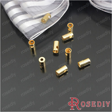 (23953)Copper Cell Phone Cord Buckle Crimp Beads Connector Links Necklace Cord End Cap Tip Findings Gold Plated 100PCS