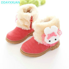 Girls Boots Princess 2017 Brand New Winter Children Shoes Plush Warm Bow Fashion Girl Snow Boots Kids Soft Bow Cute Girls Shoes(China)