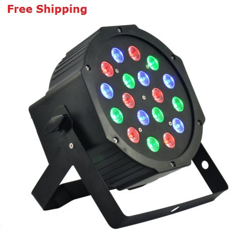 18*3W Led Stage Light High Power RGB LED Par Can With DMX512 Flat DJ Disco Strobe for Home Party Wedding Bar<br>