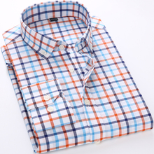 Main Push 2017 New Men's Shirt Brand Plaid Shirt Fashion Men's Plaid Shirt Casual Long-Sleeved Men's Dress Shirt Slim Dress Tops