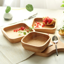 Logs Square Dessert Salad Bowl Fruit Bowl Salad Bowl Dessert Plate Solid Wood Bowl Small Fresh Hotel Tableware