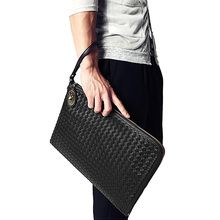 Personalized Woven England style PU Leather Men's Clutch Wallet Long Hand Bag Functional Leather Wallets Man  Popular