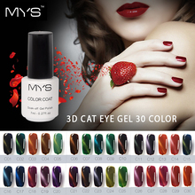 MYS 7ML 3D Cat Eyes UV Gel Polish Soak Off LED UV Gel Nail Polish Magnetic Gel varnish Lacquer Long-Lasting 30 Colors For Choose