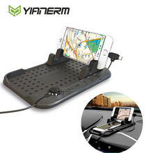 Yianerm Car Phone Holder Anti- slip Silicone Pad Magnetic Charging Stand Base For iPhone Android Charging Cable Phone Support(China)