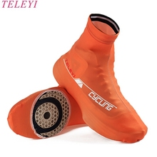 TELEYI Orange Men women Cycling Bike Shoes Covers Overshoes M L XL Racing Riding Bicycle Ciclismo Breathable Zippered protective