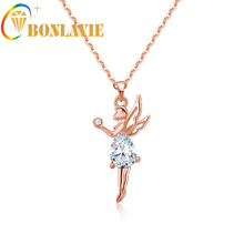 Tinkerbell Angel Fairy Necklace Pendant Clear Rhinestone Necklace Crystal Wings Pendant For Teen Girls And Women NYNC45(China)