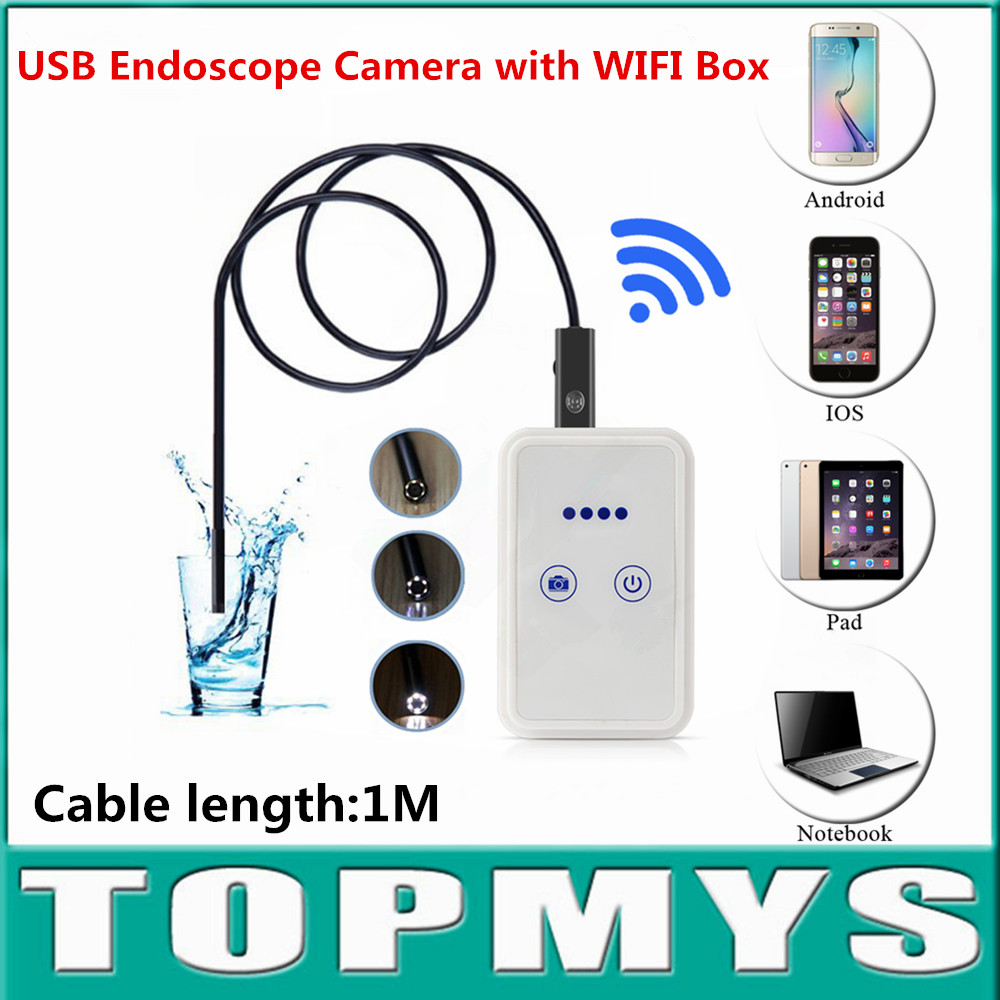 USB Endoscope camera with WIFI Box Android Iphone inspection endoscope wifi pinhole Camera TM-WE9 cable1M lens 9mm snake camera<br>