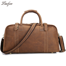 Men's Crazy horse leather travel duffle Genuine Leather Boston bag leather travel bag Vintage big Cow Leather weekend bag