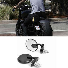 "MOTORCYCLE BLACK 3"" ROUND 7/8"" HANDLE BAR END MIRRORS CAFE RACER BOBBER CLUBMAN(China)"
