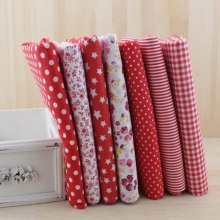 7pcs Red Cotton Patchwork Fabric Bundle For DIY Sewing Textiles Tilda Doll Cloth Quilting Tissue 50cmx50cm(China)