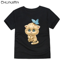 CHUNJIAN boys animal cartoon t shirts kids cat cotton short sleeve summer tops children clothes boys T-shirt for girls baby tee(China)