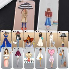 Прозрачный чехол для Coque iphone 6 Girl Fashion Shopping Dress Love Bags с рисунком Funda для iphone 5 5s se 7 8 plus(China)
