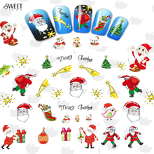 1sheet Water Transfer Foil Nail Art Sticker Christmas Snowflake Santa Snowman Tree Manicure Decor Decal Nail Tool LABLE2325-2335