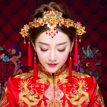 New Vintage Chinese Wedding Hair Accessories Red Long Tassel Hair Sticks Headband Earrings Bridal Princess Queen Crown Headdress(China)