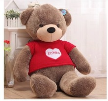 100 cm loves bear plush toy throw pillow red sweater cloth teddy bear doll gift w3882(China)