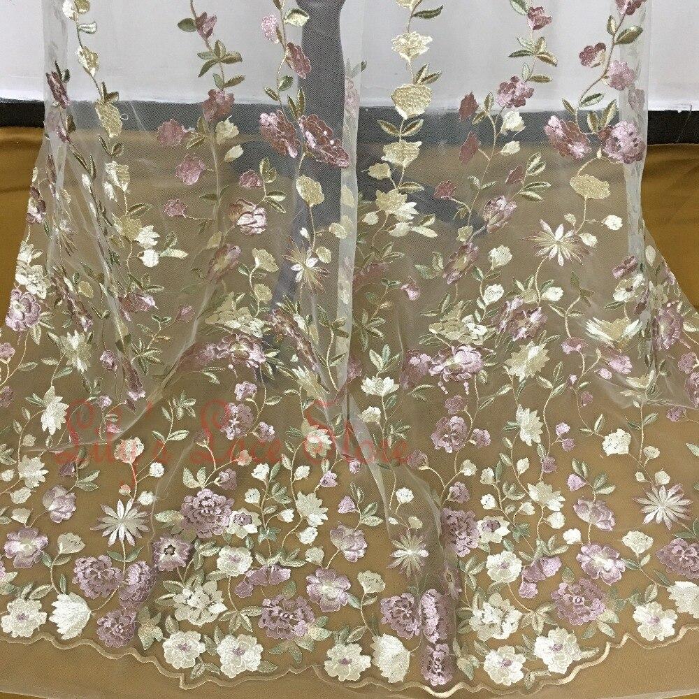 High end многоцветный вышитые тюль кружевной ткани повторяющийся цветы fashion show кружева материал Тайвань(China)