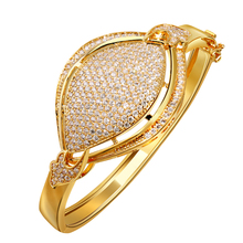 hot fashion gold color studded white 252pcs cubic zirconia big cuff Bracelets bangles for women wedding jewelry(China)