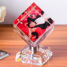 Customized photo frame Crystal Frame cube Christmas gift Birthday gift Home Decoration Table Decor(China)