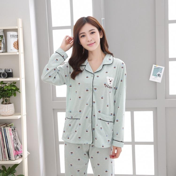 f9811885d1 2019 Plus Size 100% Cotton Pajamas Sets For Women 2018 Autumn Winter ...