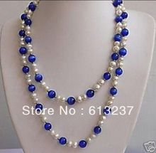 hot free Shipping new Fashion Style diy 51 inches beautiful White pearl&Blue opal necklace MY5271