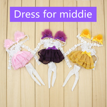 Free shipping for middie blyth doll purple pink yellow dress cat ear suit lovely clothes gift toy 1/8 20cm