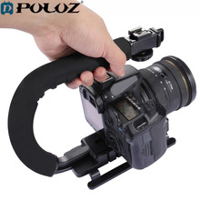 PULUZ U-shaped Grip Triple Shoe Mount Video Action Stabilizing Handle Grip Rig Camera Accessory Canon Sony DSLR Camera