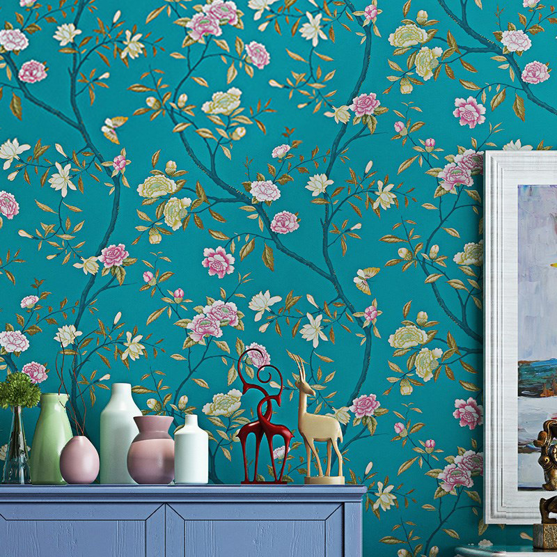 3D Wallpaper Modern Simple Pastoral Flowers Bird Non-Woven Paper Wallpaper Living Room Bedroom Backdrop Wall Papel De Parede 3 D<br>
