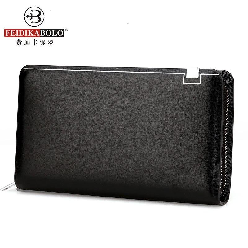 Brand Mens Wallet Double Zipper Leather Wallet Men Business Man Wallets Purse Male Clutch Handy Bag Portomonee Billetera Hombre<br><br>Aliexpress