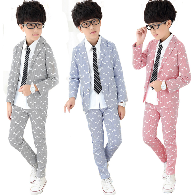 Boys Boutique Clothing Sets Formal Boy Suits Wedding Spring Kids Clothes Set Triangle Printing Autumn 2017 Children Outfits 2pcs<br>