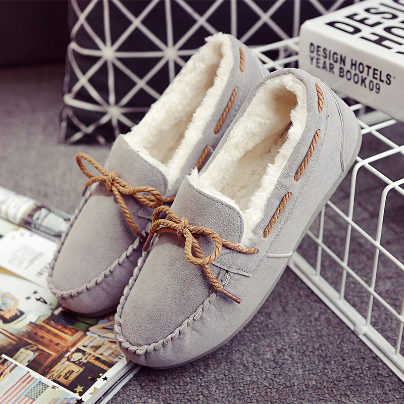 NEW winter models Peas shoes plus velvet bow sets foot thick warm fur flat shoes for pregnant women<br><br>Aliexpress