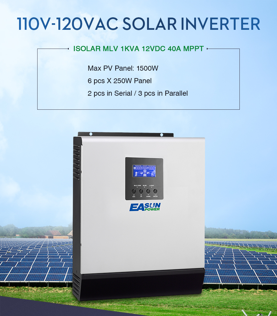 EASUN POWER 12V Solar Inverter 800W MPPT 1Kva Pure Sine Wave Inverter 40A Off Grid Inverter 110V Hybrid Inverter 20A AC _01