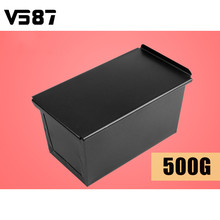 500G Nonstick Carbon Steel Corrugated Box With Lid Rectangle Black Toast Bread Loaf Pan Cake Bake Mold Bakeware Tools